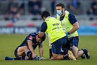 4th June 2021; AJ Bell Stadium, Salford, Lancashire, England; English Premiership Rugby, Sale Sharks versus Harlequins; AJ Macginty of Sale Sharks receives treatement for a head injury