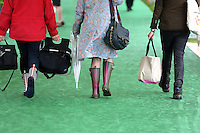 Friday 23 May 2014, Hay on Wye UK<br /> Pictured: Festival goers armed with wellington boots and rain coats.<br /> Re: The Telegraph Hay Festival, Hay on Wye, Powys, Wales UK.