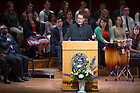 May 17, 2014; Rev. Paul V. Kollman, C.S.C., executive director, Center for Social Concerns speaks during the Center for Social Concerns' Seniors Send-Off Ceremony at the DeBartolo Performing Arts Center. Photo by Barbara Johnston/University of Notre Dame