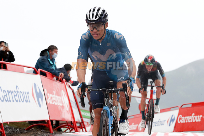 Miguel Angel Lopez Moreno (COL) Movistar Team crosses the line in 3rd place at the end of Stage 17 of La Vuelta d'Espana 2021, running 185.8km from Unquera to Lagos de Covadonga, Spain. 1st September 2021.    <br /> Picture: Luis Angel Gomez/Photogomezsport | Cyclefile<br /> <br /> All photos usage must carry mandatory copyright credit (© Cyclefile | Luis Angel Gomez/Photogomezsport)