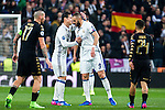 Karim Benzema of Real Madrid celebrates after scoring a goal during the match of Champions League between Real Madrid and SSC Napoli  at Santiago Bernabeu Stadium in Madrid, Spain. February 15, 2017. (ALTERPHOTOS)