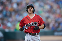 Eric Wood (14) of the Indianapolis Indians crosses home plate after hitting a home run against the Charlotte Knights at BB&T BallPark on April 27, 2019 in Charlotte, North Carolina. The Indians defeated the Knights 8-4. (Brian Westerholt/Four Seam Images)