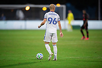 LAKE BUENA VISTA, FL - JULY 22: Andrew Gutman #96 of FC Cincinnati dribbles the ball during a game between New York Red Bulls and FC Cincinnati at Wide World of Sports on July 22, 2020 in Lake Buena Vista, Florida.