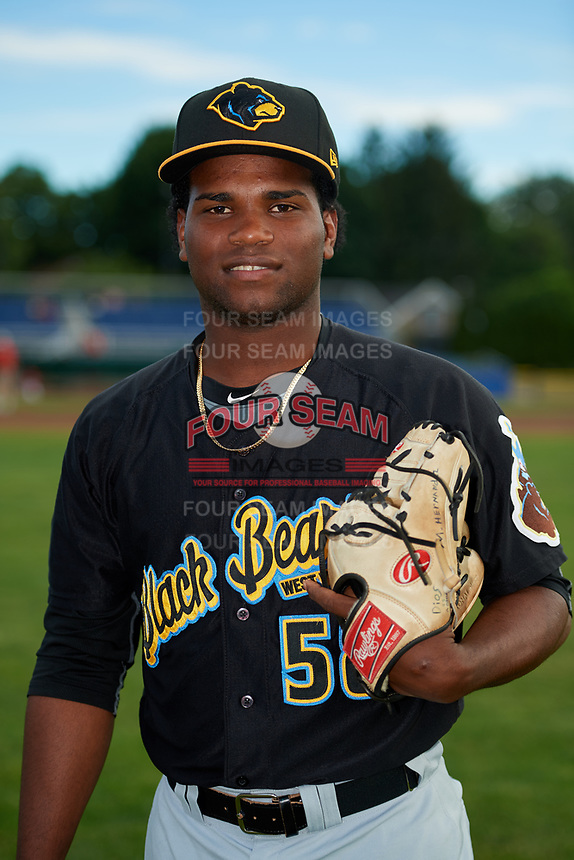 West Virginia Black Bears pitcher Juan Henriquez (58) poses for a photo before a game against the Batavia Muckdogs on June 19, 2018 at Dwyer Stadium in Batavia, New York.  West Virginia defeated Batavia 7-6.  (Mike Janes/Four Seam Images)