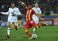 Ghana forward pushes past U.S. midfielder in route to his fifth-minute goal. Ghana defeated the U.S., 2-1, in extra time to advance to the quarterfinals, Saturday, June 26th, at the 2010 FIFA World Cup in South Africa..