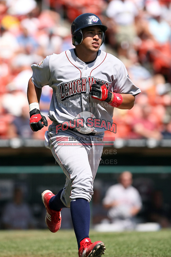 August 22 2008:  Catcher Orlando Guevara of the Lehigh Valley IronPigs, Class-AAA affiliate of the Philadelphia Phillies, during a game at Dunn Tire Park in Buffalo, NY.  Photo by:  Mike Janes/Four Seam Images