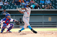 Rocket City Trash Pandas right fielder Izzy Wilson (9) at bat against the Tennessee Smokies at Smokies Stadium on July 2, 2021, in Kodak, Tennessee. (Danny Parker/Four Seam Images)