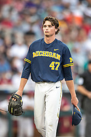 Michigan Wolverines pitcher Tommy Henry (47) during Game 6 of the NCAA College World Series against the Florida State Seminoles on June 17, 2019 at TD Ameritrade Park in Omaha, Nebraska. Michigan defeated Florida State 2-0. (Andrew Woolley/Four Seam Images)