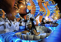 Revlers of Vila Isabel samba school perform during parade at the Sambadrome, Rio de Janeiro, Brazil, March 3, 2014.  (Austral Foto/Renzo Gostoli)