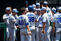 Duke Blue Devils catcher Michael Rothenberg (38) celebrates a run with teammates during the game against the Wright State Raiders in NCAA Regional play on Robert M. Lindsay Field at Lindsey Nelson Stadium on June 5, 2021, in Knoxville, Tennessee. (Danny Parker/Four Seam Images)