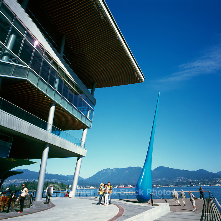 """The Drop"" Sculpture (Artists - Inges Idee) at Convention Centre West overlooks Burrard Inlet, Grouse Mountain, and North Shore Mountains, Downtown Vancouver, British Columbia, Canada"