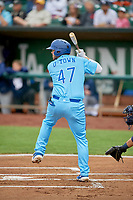 Brandon Lewis (47) of the Ogden Raptors at bat against the Rocky Mountain Vibes at Lindquist Field on July 4, 2019 in Ogden, Utah. The Raptors defeated the Vibes 4-2. (Stephen Smith/Four Seam Images)