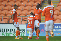 Blackpool's Sullay Kaikai celebrates scoring the opening goal with team-mates<br /> <br /> Photographer Kevin Barnes/CameraSport<br /> <br /> The EFL Sky Bet League One - Blackpool v Milton Keynes Dons - Saturday 24 October 2020 - Bloomfield Road - Blackpool<br /> <br /> World Copyright © 2020 CameraSport. All rights reserved. 43 Linden Ave. Countesthorpe. Leicester. England. LE8 5PG - Tel: +44 (0) 116 277 4147 - admin@camerasport.com - www.camerasport.com