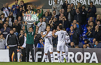 Harry Kane of Tottenham Hotspur replaces Son Heung-Min of Tottenham Hotspur during the UEFA Europa League match between Tottenham Hotspur and Qarabag FK at White Hart Lane, London, England on 17 September 2015. Photo by Andy Rowland.