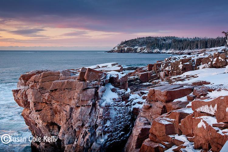 A frosty sunrise at Thunder Hole, Acadia National Park, ME, USA