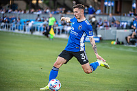 SAN JOSE, CA - MAY 15: Paul Marie #3 of the San Jose Earthquakes passes the ball during a game between San Jose Earthquakes and Portland Timbers at PayPal Park on May 15, 2021 in San Jose, California.
