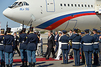 Pictured: Vladimir Putin with Panayiotis Kamenos during his arrival to Athens Friday 27 May 2016<br /> Re: Russian President Vladimir Putin arrives at Eleftherios Venizelos Airport near Athens, Greece