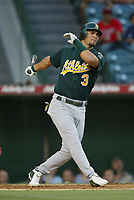 Eric Chavez of the Oakland Athletics during a 2003 season MLB game at Angel Stadium in Anaheim, California. (Larry Goren/Four Seam Images)