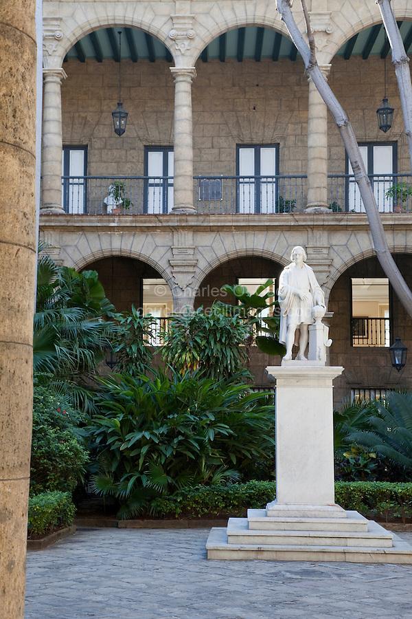 Cuba, Havana.  Palacio de los Capitanes Generales, now the Museo de la Ciudad.  City Museum.  Statue of Christopher Columbus in Courtyard.