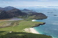 view from summit of Ceapabhal over sandy beaches of South Harris, Isle of Harris, Outer Hebrides, Scotland