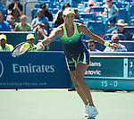 Ana Ivanovic (SRB) loses to Serena Williams (USA) 3-6, 6-4, 6-2 at the Western and Southern Open in Mason, OH on August 21, 2015.