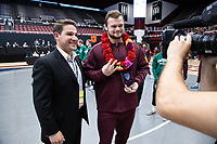 STANFORD, CA - March 7, 2020: Tanner Hall of Arizona State University is presented with the Scholar-Athlete of the Year Award during the 2020 Pac-12 Wrestling Championships at Maples Pavilion.