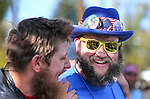 David Clemensen, left, and Ryan Bouver compete in the Nevada Day Beard Competition in Carson City, Nev., on Saturday, Oct. 31, 2015. <br /> Photo by Cathleen Allison