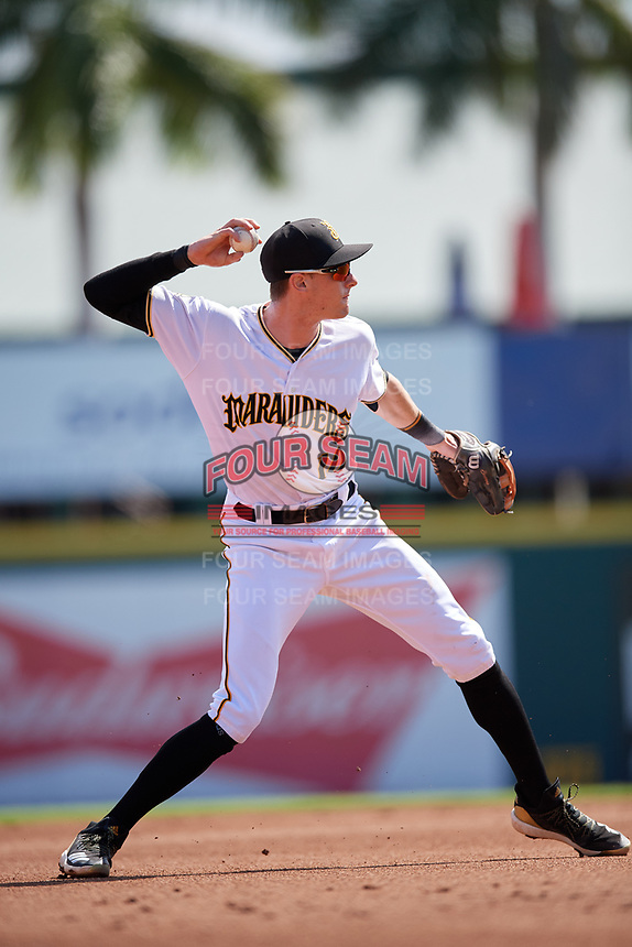 Bradenton Marauders third baseman Michael Gretler (10) throws to first base during a Florida State League game against the Charlotte Stone Crabs on April 10, 2019 at LECOM Park in Bradenton, Florida.  Bradenton defeated Charlotte 2-1.  (Mike Janes/Four Seam Images)
