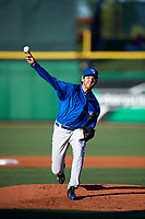 Dunedin Blue Jays starting pitcher Jordan Romano (28) delivers a pitch during a game against the Clearwater Threshers on April 7, 2017 at Spectrum Field in Clearwater, Florida.  Dunedin defeated Clearwater 7-4.  (Mike Janes/Four Seam Images)