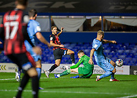 2nd October 2020; St Andrews Stadium, Coventry, West Midlands, England; English Football League Championship Football, Coventry City v AFC Bournemouth; Dan Gosling of AFC Bournemouth scoring past Coventry City Goalkeeper Marko Marosi and Kyle McFadzean of Coventry City to take the lead in the 51st minute 1-2