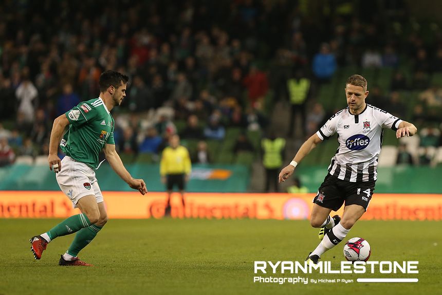 Dane Massey of Dundalk in action against Jimmy Keohane of Cork City during the Irish Daily Mail FAI Cup Final between Dundalk and Cork City, on Sunday 4th November 2018, at the Aviva Stadium, Dublin. Mandatory Credit: Michael P Ryan.