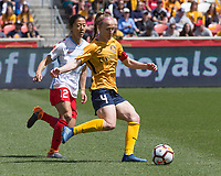 Sandy, UT - Saturday April 14, 2018: Yuki Nagasato Becky Sauerbrunn during a regular season National Women's Soccer League (NWSL) match between the Utah Royals FC and the Chicago Red Stars at Rio Tinto Stadium.