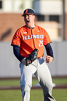 Illinois Fighting Illini pitcher Nathan Lavender (25) celebrates closing out the game during the NCAA baseball game against the Michigan Wolverines on March 19, 2021 at Fisher Stadium in Ann Arbor, Michigan. Illinois won the game 7-4. (Andrew Woolley/Four Seam Images)
