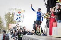 Philippe Gilbert (BEL/Quick Step floors) mounting the Amstel podium for a 4th time as race winner<br /> <br /> 52nd Amstel Gold Race (1.UWT)<br /> 1 Day Race: Maastricht › Berg en Terblijt (264km)