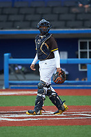 Catcher George Baker of DeMatha Catholic High School (MD) playing for the San Diego Padres scout team during the South Atlantic Border Battle Futures Game at Truist Point on September 25, 2020 in High Pont, NC. (Brian Westerholt/Four Seam Images)