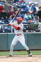 Ti'Quan Forbes (10) of the Spokane Indians bats during a game against the Everett AquaSox at Everett Memorial Stadium on July 24, 2015 in Everett, Washington. Everett defeated Spokane, 8-6. (Larry Goren/Four Seam Images)