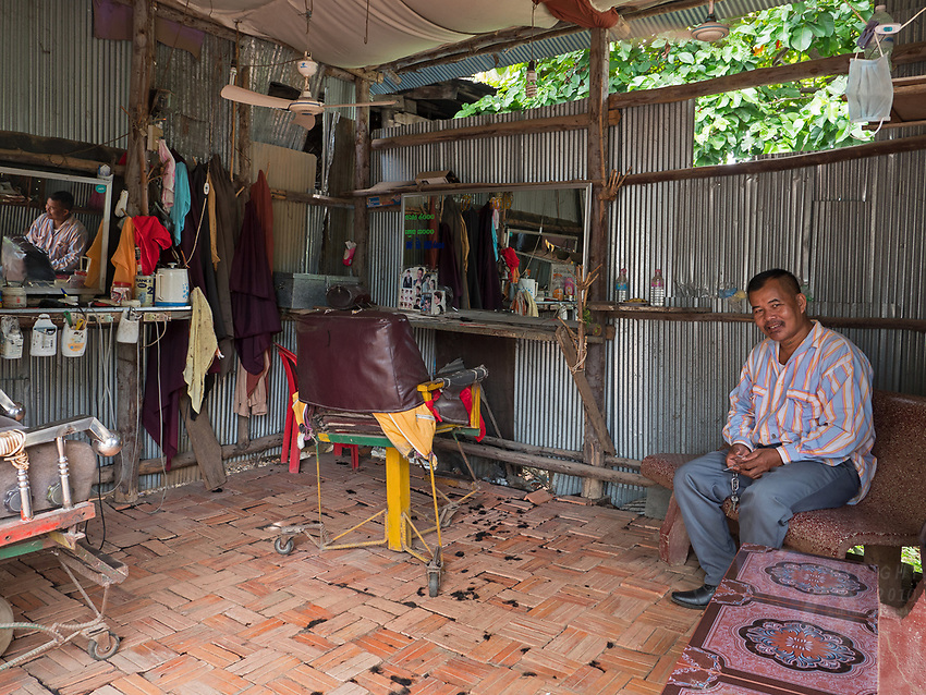 A very simple Hair salon in the province of Battambang, some way out from the main town in a small village. Cambodia