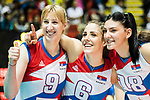 Wing spiker Brankica Mihajlovic (L), Wing spiker Tijana Malesevic (C) and Opposite spiker Tijana Boskovic (R) of Serbia pose for photo after winning the FIVB Volleyball World Grand Prix - Hong Kong 2017 match between China and Serbia on 23 July 2017, in Hong Kong, China. Photo by Yu Chun Christopher Wong / Power Sport Images