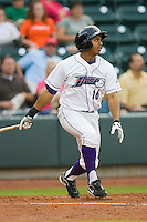 Jordan Cheatham #16 of the Winston-Salem Dash follows through on his swing against the Lynchburg Hillcats at  BB&T Ballpark May 22, 2010, in Winston-Salem, North Carolina.  Photo by Brian Westerholt / Four Seam Images