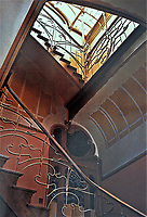 Staircase inside the Horta Museum. Art Nouveau style. Victor Horta, Brussels Belgium.