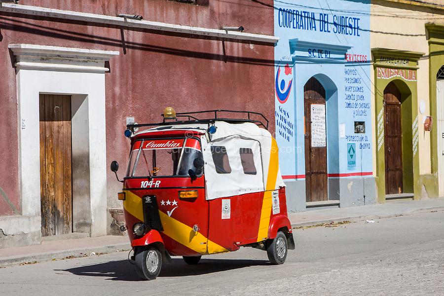 "Matatlan, Oaxaca; Mexico; North America.  Street Scene with Taxi.  (""Mototaxi."")"