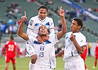CARSON, CA - March 23, 2012: Eddie Hernandez (13) of Honduras celebrates his goal during the Honduras vs Panama match at the Home Depot Center in Carson, California.
