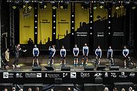 Team Israël Start-Up Nationat the pre Tour teams presentation of the 108th Tour de France 2021 in Brest at le Grand Départ.