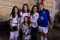 PASADENA, CA - AUGUST 4: Christen Press #23 poses with the family of Gianni Infantino during a game between Ireland and USWNT at Rose Bowl on August 3, 2019 in Pasadena, California.