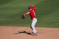 Philadelphia Phillies shortstop Bryson Stott (73) throws to first base during a Major League Spring Training game against the Baltimore Orioles on March 12, 2021 at the Ed Smith Stadium in Sarasota, Florida.  (Mike Janes/Four Seam Images)
