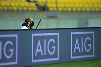 Photographer Elias Rodriguez covers the rugby match between North and South at Sky Stadium in Wellington, New Zealand on Saturday, 5 September 2020. Photo: Dave Lintott / lintottphoto.co.nz