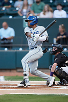 Zach Daniels (23) of the Asheville Tourists follows through on his swing against the Winston-Salem Dash at Truist Stadium on September 17, 2021 in Winston-Salem, North Carolina. (Brian Westerholt/Four Seam Images)