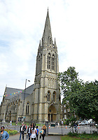 July 21, 2012: View of the St Mary's Church built in late 19th century located on Church Street in the town of Stoke Newington, London, England.