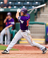 Jason Hockemeyer (15) of the Evansville Purple Aces follows through his swing during a game against the Missouri State Bears at Hammons Field on May 12, 2012 in Springfield, Missouri. (David Welker/Four Seam Images)