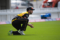 Devon Conway takes a catch during the men's Dream11 Super Smash cricket match between the Wellington Firebirds and Northern Knights at Basin Reserve in Wellington, New Zealand on Saturday, 9 January 2021. Photo: Dave Lintott / lintottphoto.co.nz